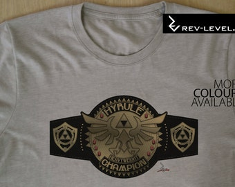 Hyrule Heavyweight Champion from The Legend of Zelda - WWE Inspired Wrestling Championship Title T-Shirt by Rev-Level