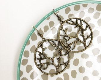 Family Tree, Tree of Life, earrings, bronze, dangles, bohemian