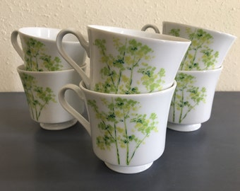 Sweet set of 6 Mikasa handled coffee mugs / tea cups Treetops pattern white china delicate tropical green bamboo / foliage design!