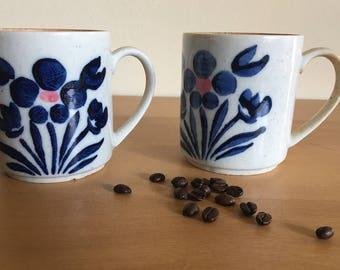 Darling pair of vintage ceramic coffee mugs / tea cups rustic earth tones with blue & pink flower design very Boho and fun 1970s Japan!