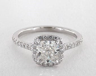 Cushion Cut Halo Diamond Engagement ring in 14kt white gold GIA Certified (1.70ct. center E-VS2), Halo Ring, Micropave Ring, Micropave Halo