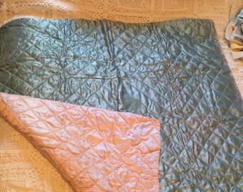 Vintage Satin Handstitched Baby Blanket