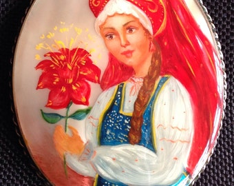 Russian Brooch Hand Painted Brooch Traditional Russian Ussr Dress Russain Costume Vintage Brooch Floral Brooch Russian Woman Folklore Brooch
