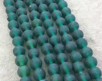 "12mm Matte Emerald Green Irregular Rondelle Shaped Indian Beach/Sea Glass Beads - Sold by 16"" Strands - Approximately 34 Beads"