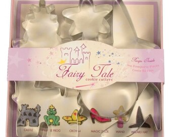 6pc Fairy Tale Cookie Cutters Set - Castle Frog Crown Slipper Wand Hat