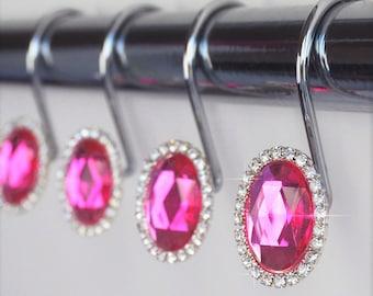 Shower Curtain Hooks Rings   Oval Hot Pink Fuchsia Decorative Crystal  Diamond Bling Rhinestones Bathroom Bathl