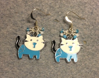Turquoise and white enamel kitty cat charm earrings adorned with tiny dangling turquoise and white Chinese crystal beads.
