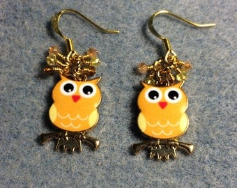 Yellow and light orange owl charm earrings adorned with tiny dangling yellow, amber and orange Chinese crystal beads.