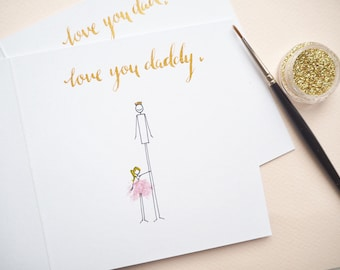 Handmade Illustrated Dad birthday card | dad card | personalised hero card | happy girl card
