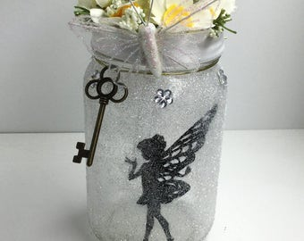 Fairy Mason Jar Lantern - Fairy Luminaire - Fairy Flameless Votive Holder - White Fairy Mason Jar Nightlight