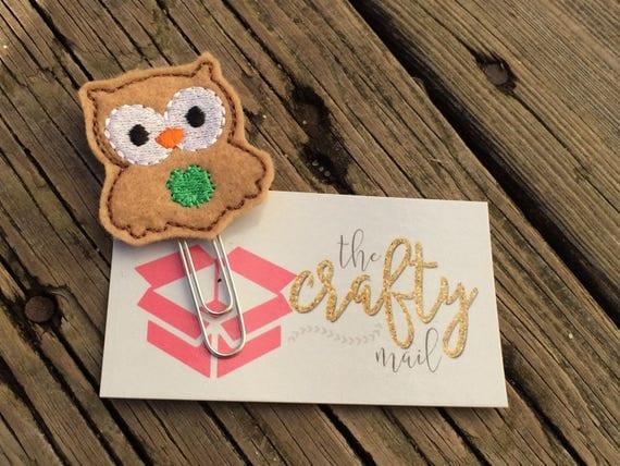 St. Patrick's Owl Clip/Planner Clip/Bookmark. St. Patrick's planner clips. St. Patty's