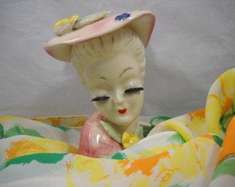 SALE!!! LADY HEAD Vase Vintage 1950s Pink Hat and Blouse with Flower Trim Applied Black Lashes Florist Shop/Vintage Florist/Collectible
