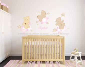 Wall decals kids Wall stickers Baby Nursery Room Decor Bears in the Stars