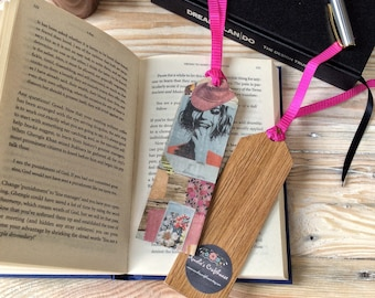 Collage Bookmark | Floral Bookmark | Oak Bookmark | Gift for Book Lover | Gift for Mother's Day | Thank You Gift | Teacher Gift
