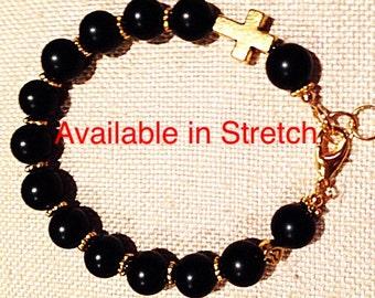 Black Onyx Sideways Gold Cross Bracelet, Modern Onyx Bracelet with Gold Cross, Black Onyx Bracelet with Gold Cross, Sideways Cross Bracelet