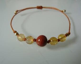 "Bracelet beads ""Anchor and comfort"", red Jasper, Citrine, Meditation, Yoga, Zen, minimalist, Chakra, Lithotherapy"