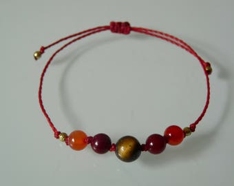 """Bracelet beads """"Strength and practical"""", Tiger's eye, red Agate, Meditation, Yoga, Zen, minimalist, Chakra, Lithotherapy"""