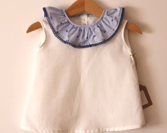 Unisex sleeveless white blouse child blue neck ruffle neck summer girl
