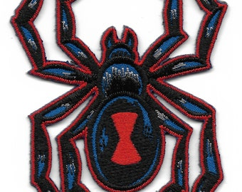 Black Widow Gothic Spider with Keyhole Embroidered Patch, Iron On Applique,
