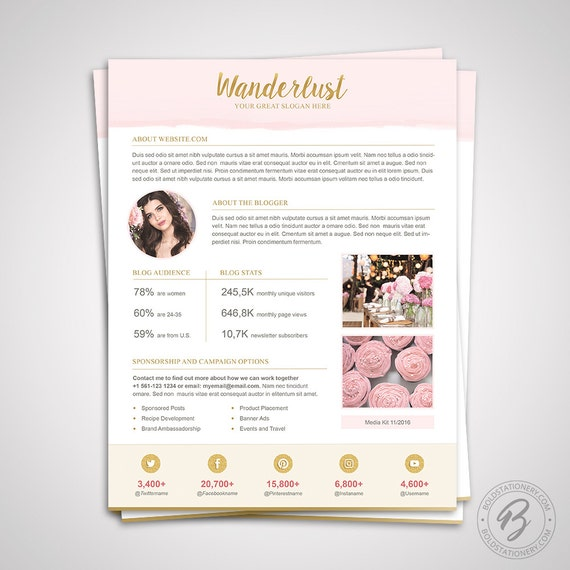 Media Kit Template 10   Ad Rate Sheet Template   Press Kit Template   Pitch  Kit   Media Kit Template