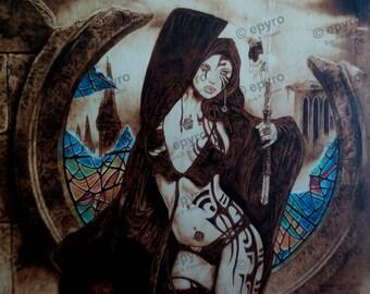 Ilustración de Luis Royo pirograbada a mano en madera de chopo.