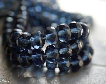 Montana Blue, Rondelle Beads, Czech Beads, Beads, N2391