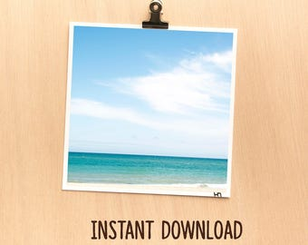 Instant download picture - Nature teal beach