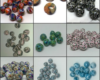 Huge Lot of Polymer Clay Beads, Round Beads, Lentil Beads, Jewelry Making Supplies
