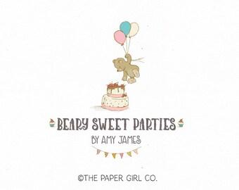 bear with balloons logo party logo design birthday logo design baby shop logo party planner logo premade logo photography logo bakery logo