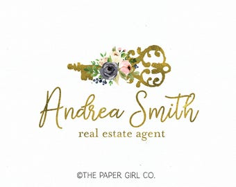 real estate company logo antique key logo design premade logo design photography logo pre made logo watercolor logo watermark