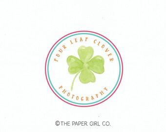 four leaf clover logo premade logo photography logo photographers logo etsy shop logo irish logo watermark sewing shop logo blog logo