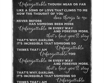 Unforgettable (Nat King Cole) Lyrics Word Art