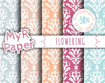 "SALE 50% Damask Digital Paper: ""Flowering"" Pack of Backgrounds in Pink, Peach, Light Blue and Fuchsia - OFF SALE - digital paper sale"