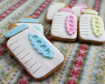 12 hand baked celebration biscuits - baby showers/Christenings/births etc