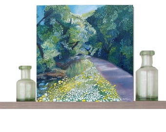 landscape Art Greeting Card - 150 x 150mm - Blank card  - birthday - Step into Spring' by Catherine Bhogal