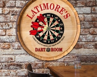 Wood Barrel Sign-Personalized Barrel Top Sign-Barrel Sign-Home Bar Gift- Wedding Gift - Anniversary Gift - Father's Day - Man Cave  (GC1465)