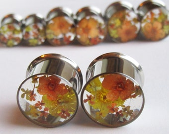 Ear Plugs Real Flower Orange Yellow Floral READY TO SHIP Handmade Unique Custom  Floral Gauges Unusual Ear Tunnels
