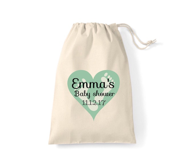 Personalised baby shower gift bags, pouches, keepsake bag, any wording & colour. New mum gifts. Tote bag