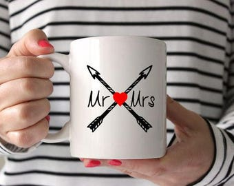 Mr & Mrs Mug, love mug, coffee love, coffee mug, couple mugs, for her, for him, arrow mugs, custom mugs, dishwasher safe, microwave safe