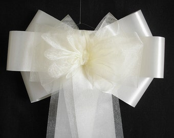10 x Folio and Organza church wedding pew end chair back christening baby shower bows