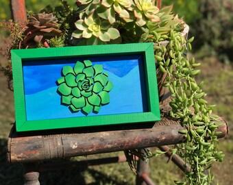 Laser Cut Succulent Framed Wood Sign