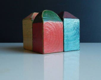 Set of 4 wooden houses, A gift for a housewarming