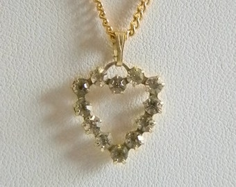 Gold Tone Open Heart Clear Crystal Pendant with Chain Necklace