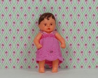 Doll house vintage ARI doll girl toddler 1970s brown hair pink dress