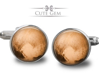 SUPER SALE - Pluto - Silver Glass Cufflinks