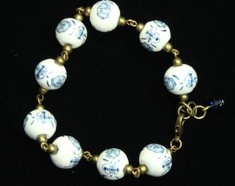 Blue And White Porcelain Bead Tea Bracelet