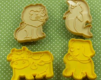 Vintage 4 Pc. Cow Lion Puppy Dolphin Cookie Cutter Set Hong Kong