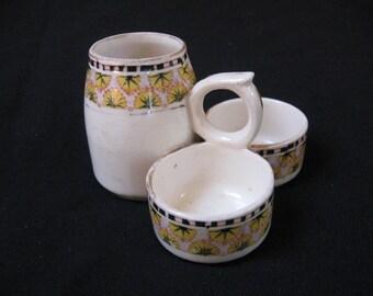 Ceramic Condiment Set Art deco, Salt Pepper, Mustard Pot, Breakfast set