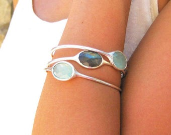 Gemstone Bangle - Chalcedony Bracelet - Labradorite Bangle