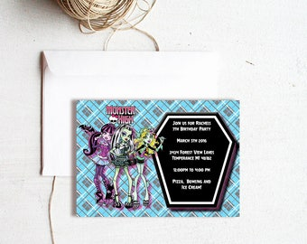 INVITATION,Monster High Birthday Invitation,monster high invitation,monster high party